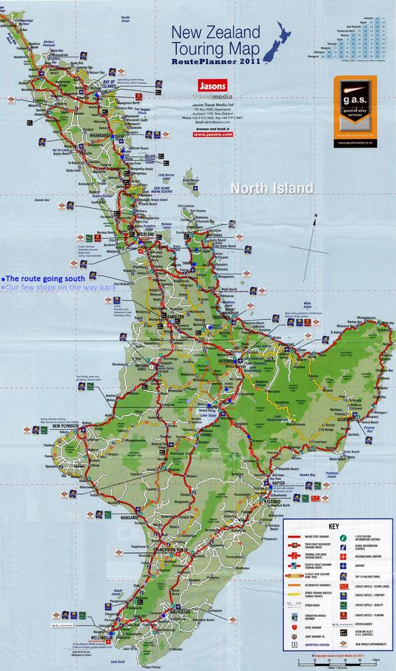 New Zealand - map North Island. . If you want to enlarge this, I've discovered if you paste it into an email, it can easily be enlarged. :)