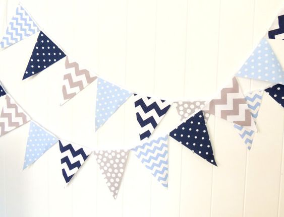 Bunting can be reused again and again! This banner includes single sided flags sewn to a thin white ribbon.    The 9 flag banner measures 4