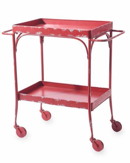 vintage red metal trolley cart