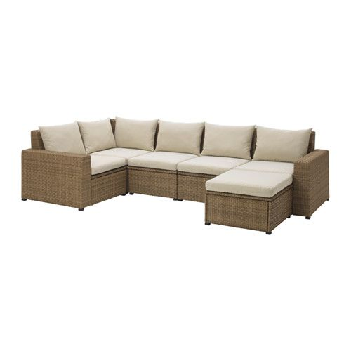 Solleron Modular Corner Sofa 4 Seat Outdoor Brown With Footstool Brown Hallo Beige In 2020 Modular Corner Sofa Ikea Outdoor Outdoor Sofa