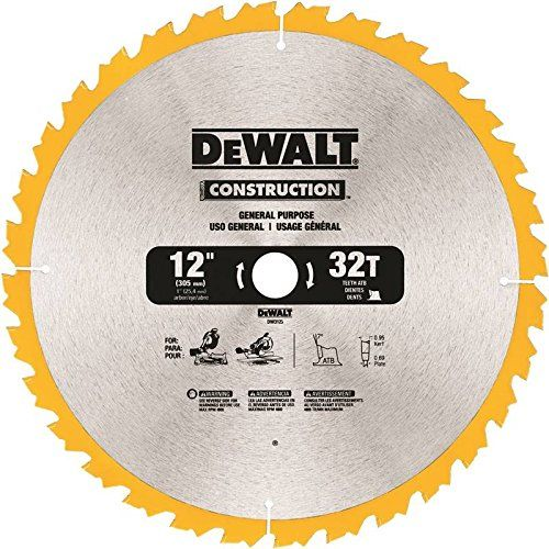 Dewalt Dw3123 Series 20 12inch 32 Tooth Atb Thin Kerf General Purpose Miter Saw Blade With 1inch Arbor Figure Out More About T Dewalt Woodworking Saws Blade