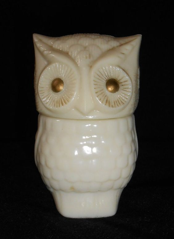 VINTAGE AVON OWL glass fragrance lotion perfume oil Avon collectible glass owl milk glass