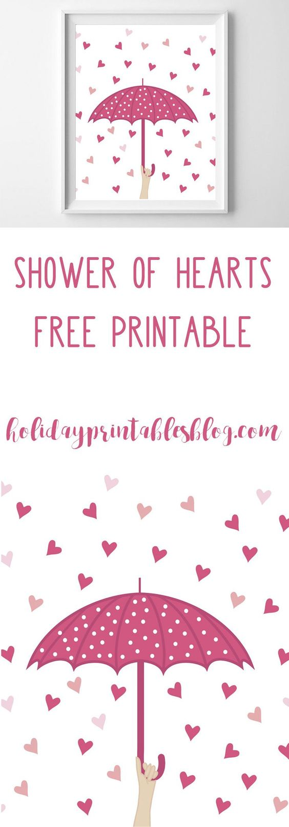 It's raining love! Print off this Valentine's Day art for free! Gorgeous pink umbrella with tumbling pink hearts!