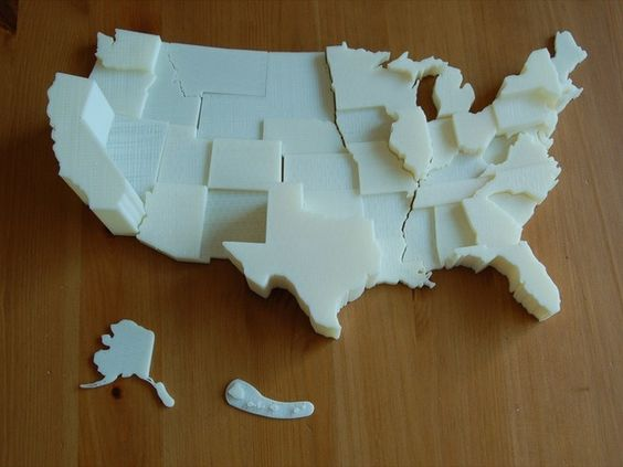 3D Map of The United States with Removable States