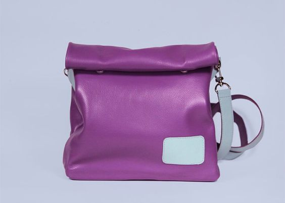 "Leather Crossbody Handbag ""Chandler Lee"", Small Purple Bag, Leather Crossbody Purse, Cross Body Bag on a Strap"