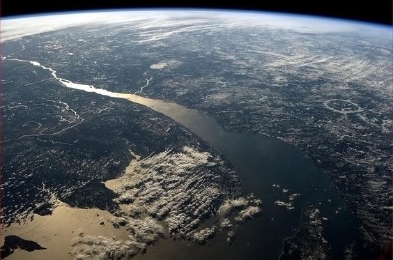 Mouth of the St. Laurence River - but check out the Manicouagan Crater/Lake on the right hand side.