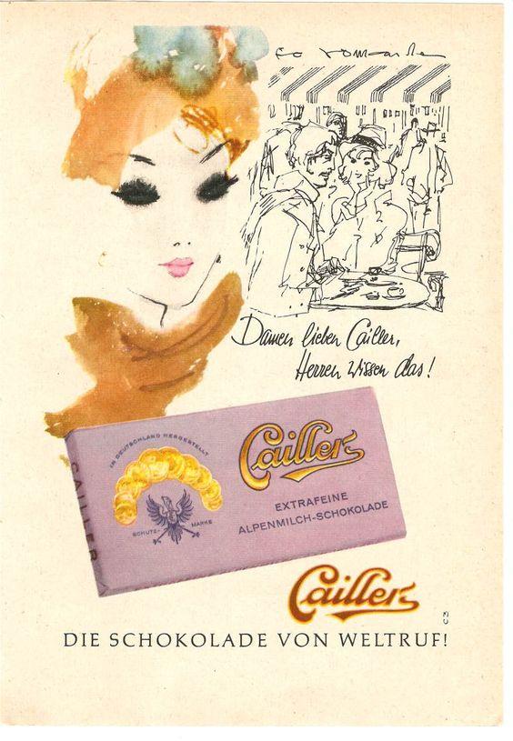Diese #Werbung für Cailler #Schokolade von 1960 machte den Herren klar, dass Damen Cailler lieben.