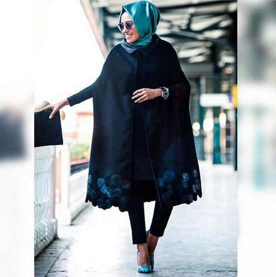 Blue Turkish Hijab with Black Long Coat