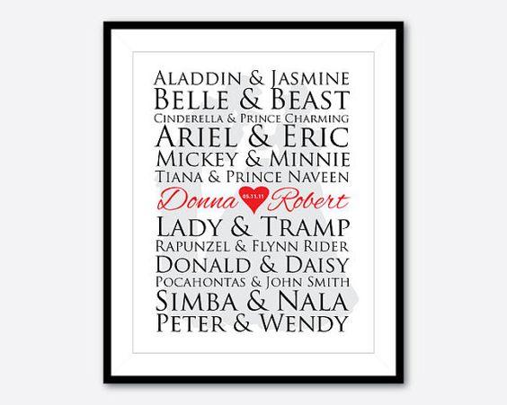 Wedding Gift Ideas Disney : printWedding gifttypography printdecorAnniversary gift ...