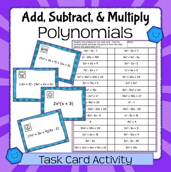 adding and subtracting polynomials fun worksheets adding subtracting multiplying polynomials. Black Bedroom Furniture Sets. Home Design Ideas