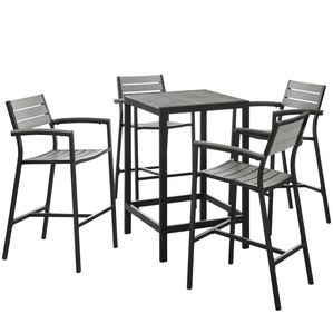 Modway Maine 5 Piece Outdoor Patio Bar Set in Brown Gray