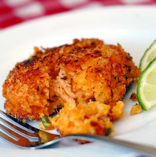 Sweet Potato Salmon Cakes - great as a delicious dinner entree with a side salad or as an appetizer at a dinner party.
