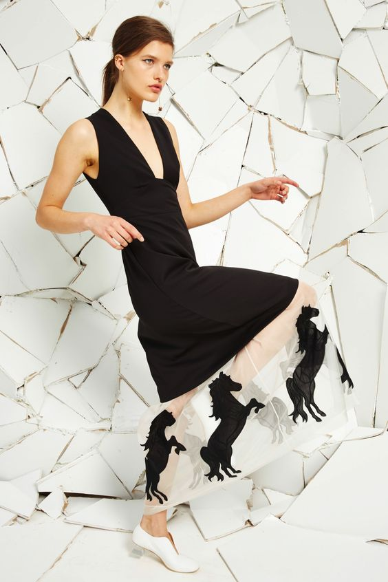 Black Tuxedo Cloth Selina Dress With Horse Applique Embroidery, White Alter Nappa Ballerina and Pink Brass Earring