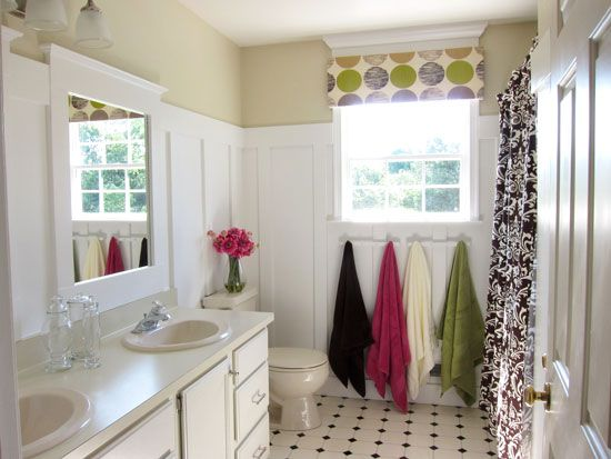 DIY step-by-step tutorial for adding Board & Batten to the bathroom,  along with adding above window molding ~ perfect idea for downstairs powder room ~ from the blog ~ In My Own Style