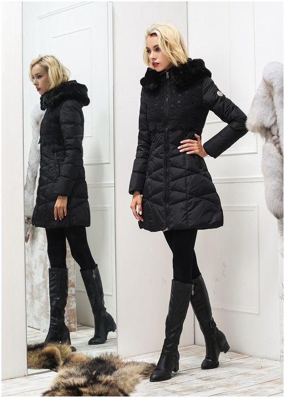 Le nouveau doudoune moncler femme manteau fourrure noir chine