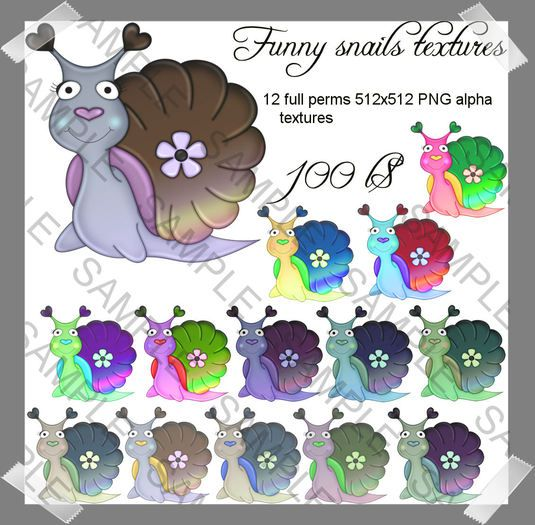 Funny snails cute Alpha PNG full perms textures