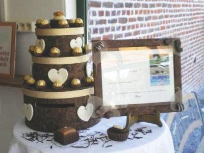 Urne de mariage g teau pi ce mont e gourmandise chocolat for Table theme gourmandise
