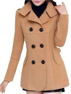 ericdress simple llano abrigo de doble botonadura
