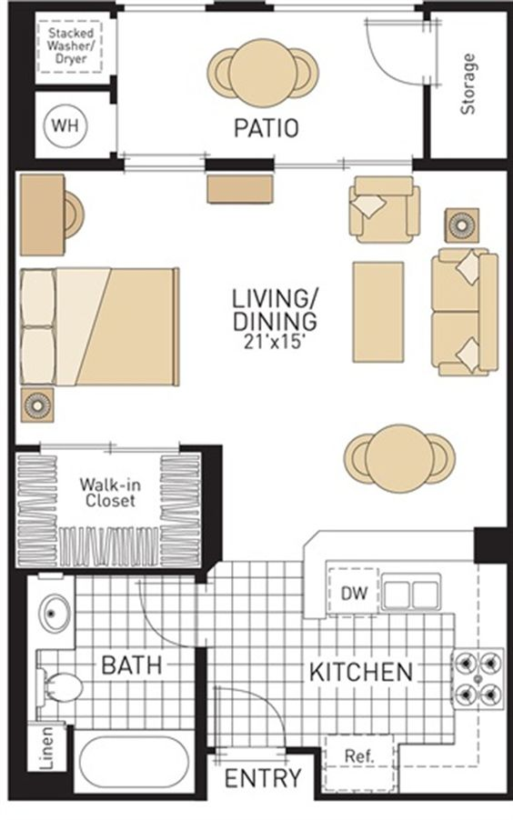 Studio apartment plan and layout design with storage for Studio apartment furniture arrangement