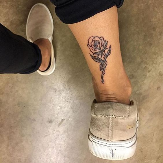 Perfect rose tattoo. Ankle. Achilles