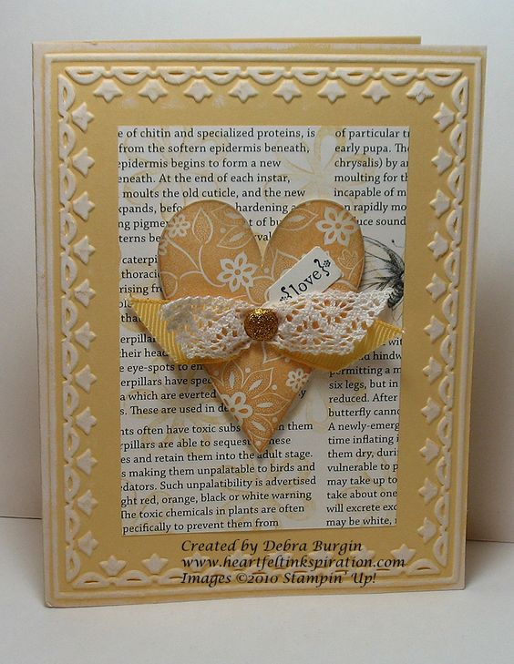 Beautiful Yellow Heart Card...using the SU Tulip Embossing folder.: