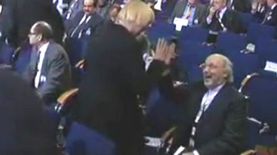 """Furore as Iran ambassador is caught on video 'high-fiving' female German MP - Telegraph The female leader of the Germany Green Party and Iran's ambassador to Berlin were left scrambling for explanations after video footage emerged of the two apparently """"high-fiving"""" each other at a conference.  telegraph.co.uk"""