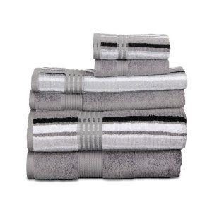 This towel set has such a unique metallic look - almost sheen. It's 100% cotton though.