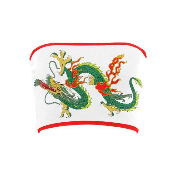 Chinese Dragon Green Bandeau Top ($12) ❤ liked on Polyvore featuring tops, green bandeau top, bandeau top, bandeau bikini top and green top