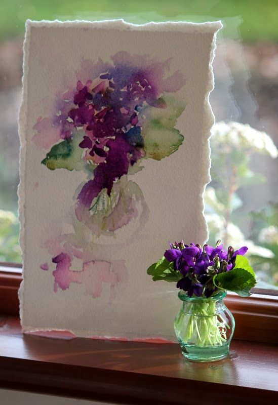 Violets in Watercolour, br Jean Haines, from her Watercolours With Life blogspot. Really neat blog. She is from the UK: