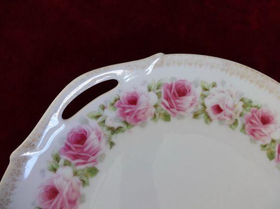 ON SALE Antique Bavarian Pink Roses Victorian by NevadafuffsStuff