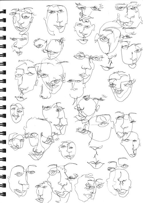 Blind Contour Line Drawing Face : Continuos line blind drawings art stuff pinterest