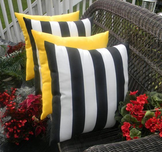 Black And White Stripe Outdoor Throw Pillows : SET OF 4 Pillow Covers - 17