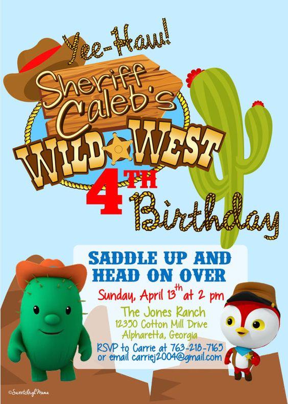 CUSTOM LISTING Deputy Peck and Toby Sheriff Callies Wild West – Wild West Birthday Invitations