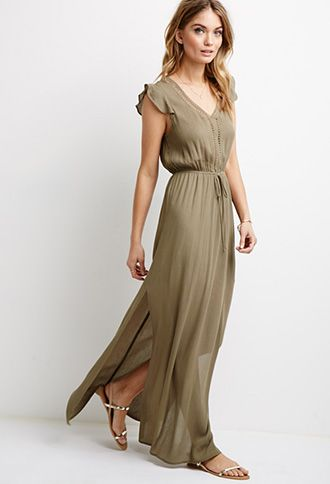 Crochet-Trimmed Gauze Maxi Dress  Forever 21  springcollection ...