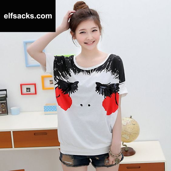 Womens  Loose Round Collar Batwing Short Sleeve White Tshirt