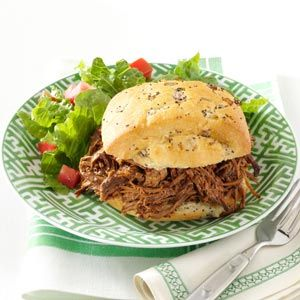 Sweet & Savory Slow-Cooked Beef Recipe- Recipes  There's plenty of sweet and a little heat from the chipotle pepper in this family-friendly shredded beef. Add your favorite barbecue sauce or stir things up each time you make it by varying the flavor to see which way you like it best. —David Kleiman, New Bedford, Massachusetts