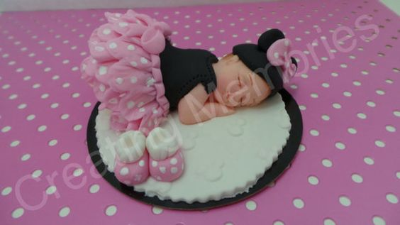 FONDANT BABY TOPPER  Baby with mouse ears  pink tutu by anafeke2