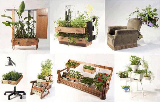 Móveis antigos e sem uso que foram reaproveitados para dar charme ao jardim. Ideia muito interessante!