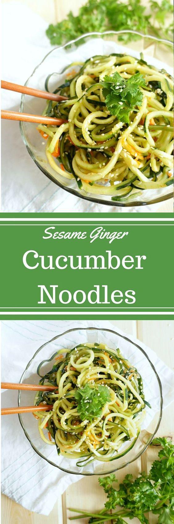 Raw Sesame Ginger Cucumber Noodles | Recipe | Noodles, Raw Apple Cider ...