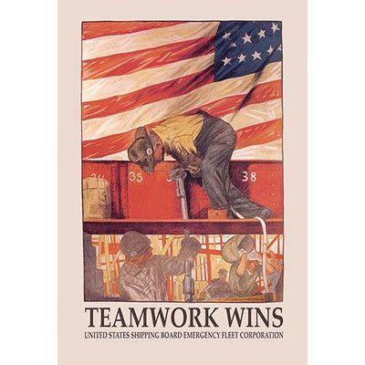Buyenlarge 'Teamwork Wins: U.S. Shipping Board Emergency Corp.' by Hibberd Van Buren Vintage Advertisement