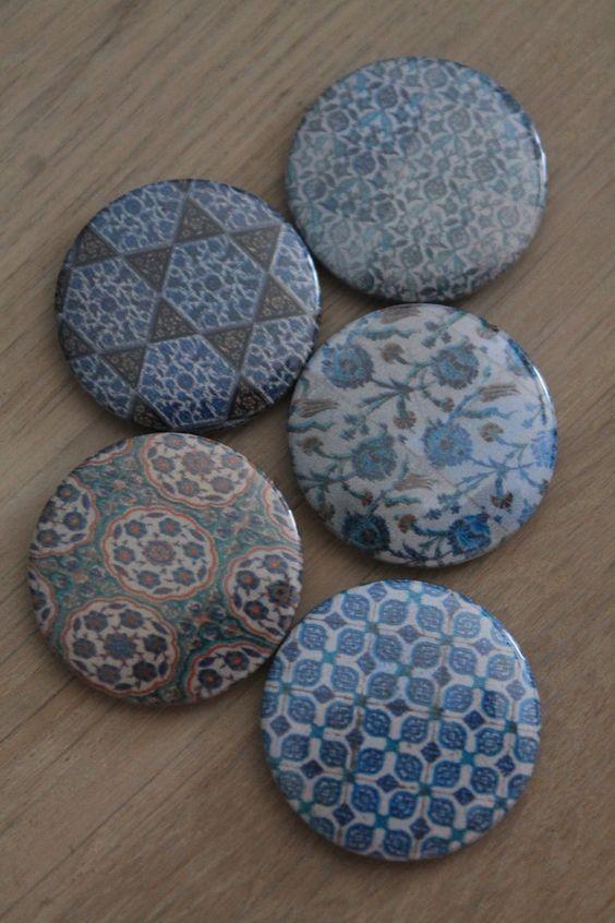 """Lot de 5 mini magnets assortis thème """"mosaïque orientale 2"""" : Accessoires de maison par le-petit-bazar-des-trinomettes-en-delire"""