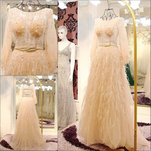 Custom Champagne Long Sleeve Backless Fairy Wedding Bridal Dresses SKU-120033