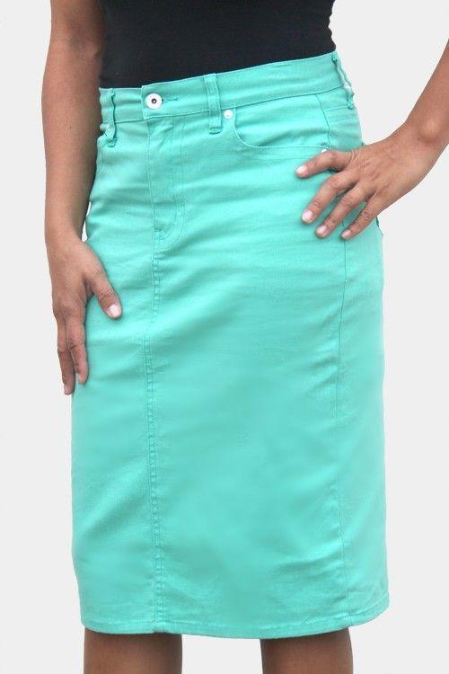 Jade Mackenzie - Mint Green Denim Skirt, $38.00 (http://www.jademackenzie.com/mint-green-denim-skirt/)