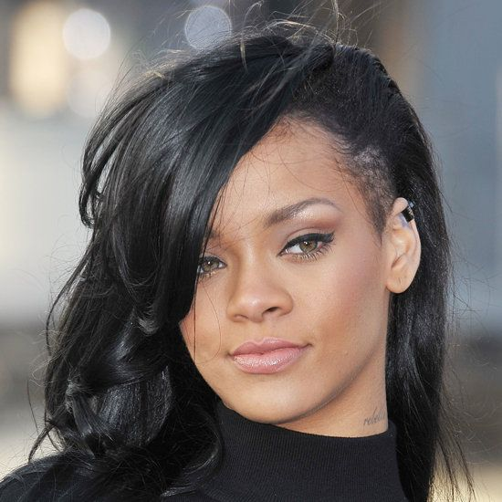 Rihanna Dyes Her Hair Black With Shaved Sides