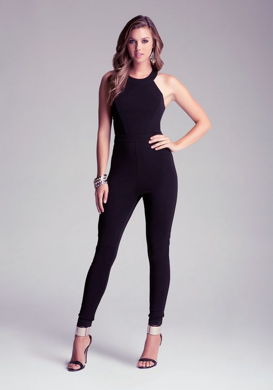 Fashion: Black Sexy Jumpsuit - Stand out :: bebe | Fay Racer ...