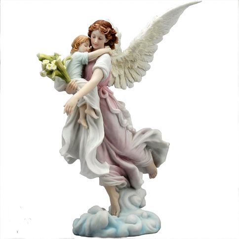 The Guardian Angel by Willow Hall A beautiful figurine of a Guardian Angel with a child in her arms Stunningly detailed and hand painted