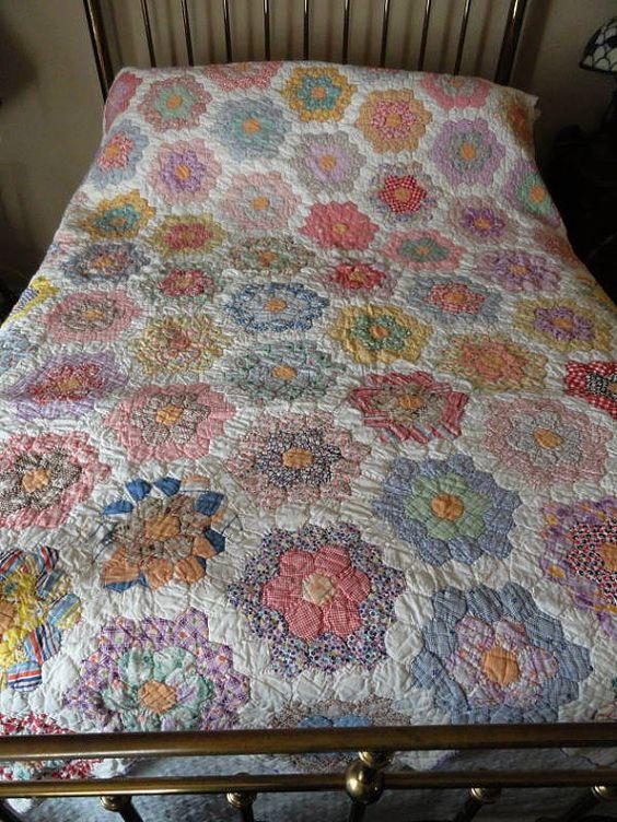 Grandmothers Flower Garden Quilt Vintage Flour Sack Fabrics