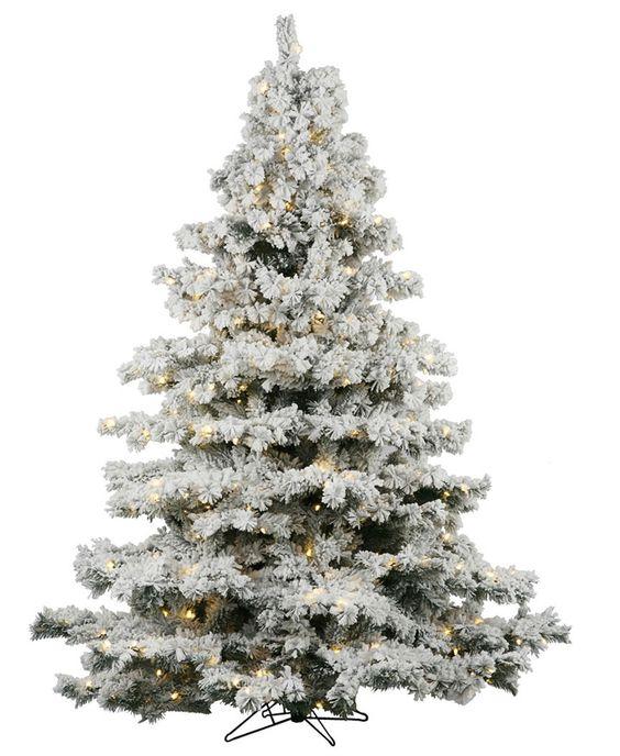 Sale- 9' Flocked Alaskan Christmas Tree Lit (clear lites)