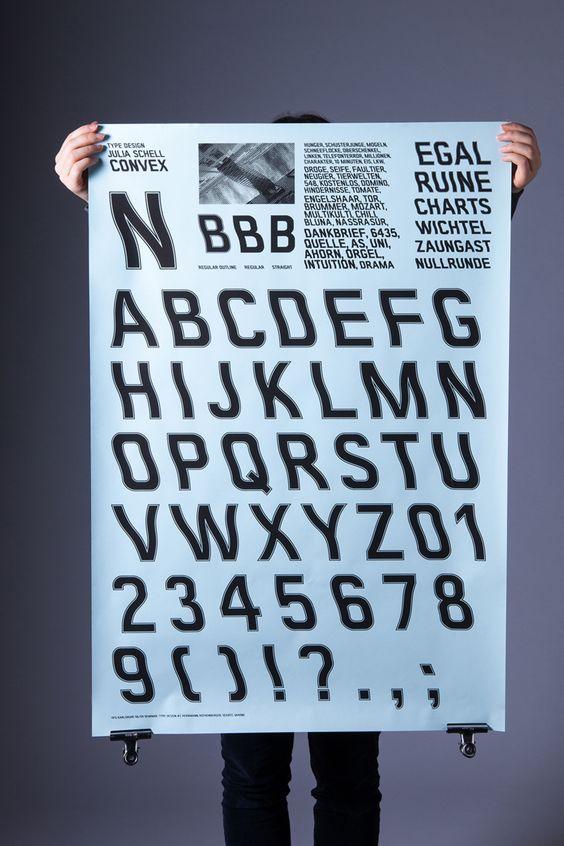 Convex ist ein Headline Font, ist sehr plakativ und funktioniert als ein starker Blickfang. Die Schrift hat die Anmutung von Kunst und Emotionen, sie entwickelt eine Art Eigensprache. Diese Eigensprache drückt Persönlichkeit, Dynamik und Bewegung aus. Die vom Schriftcharakter ausgehende Wirkung ist individuell. Das Schriftbild vermittelt den Eindruck von organischen Formen.