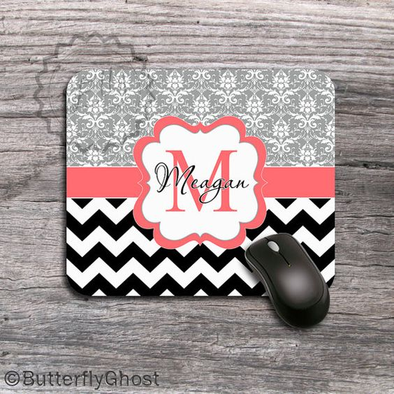 Customized Mousepad  Cute Coral monogram label by ButterflyGhost, $11.49